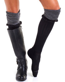 Bootights Women's Slouchy Grey Boot Socks, , hi-res