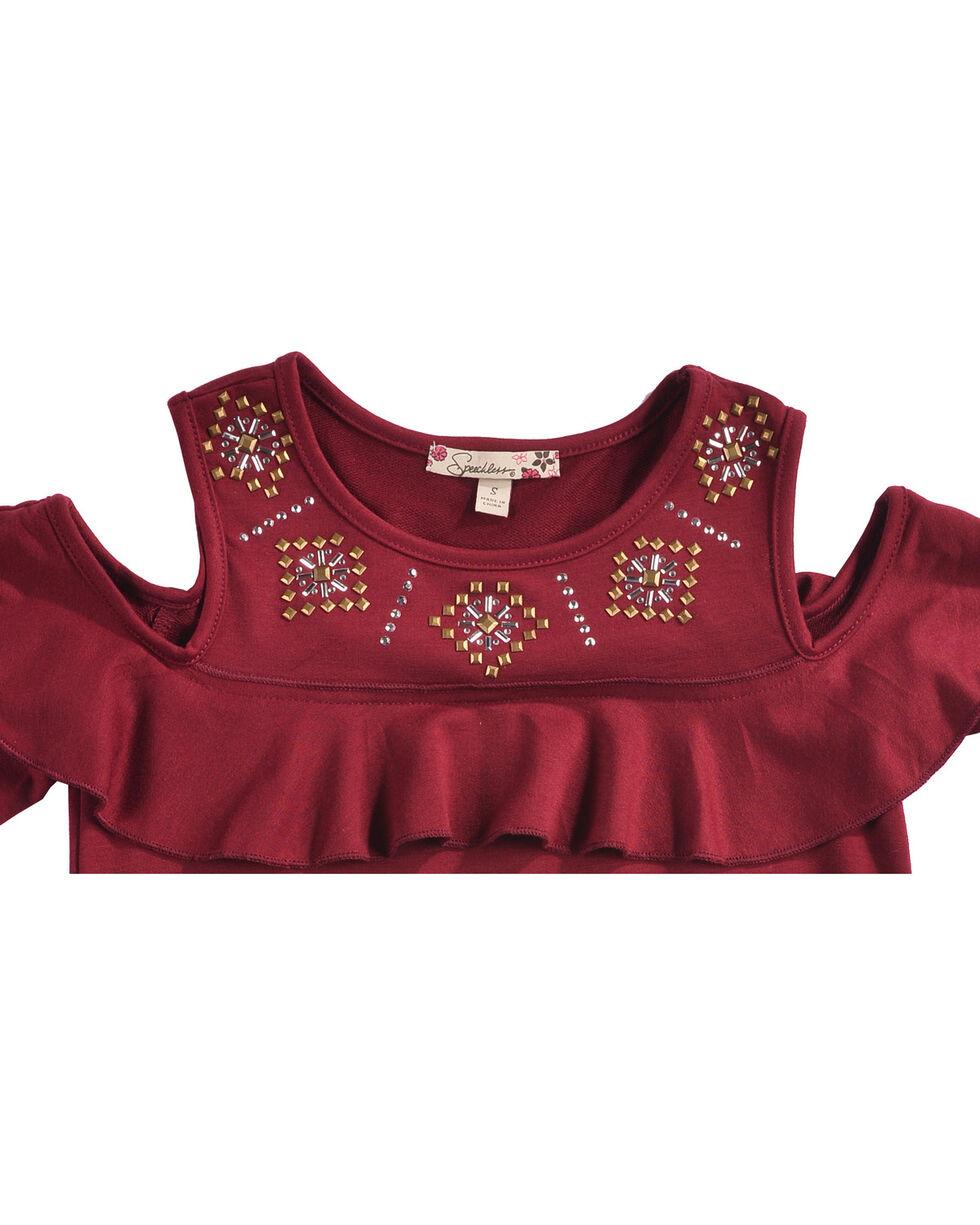 Speechless Girls' Burgundy Cold Shoulder Top , Burgundy, hi-res