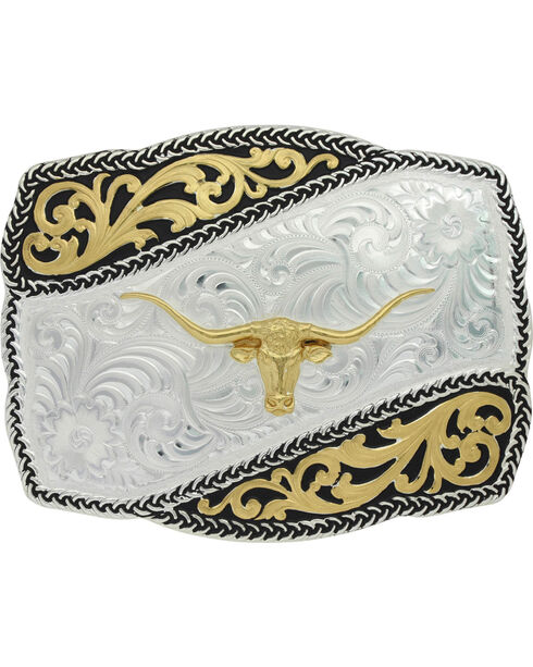 Montana Silversmiths Two-Tone Braided Wave Steer Belt Buckle , Silver, hi-res