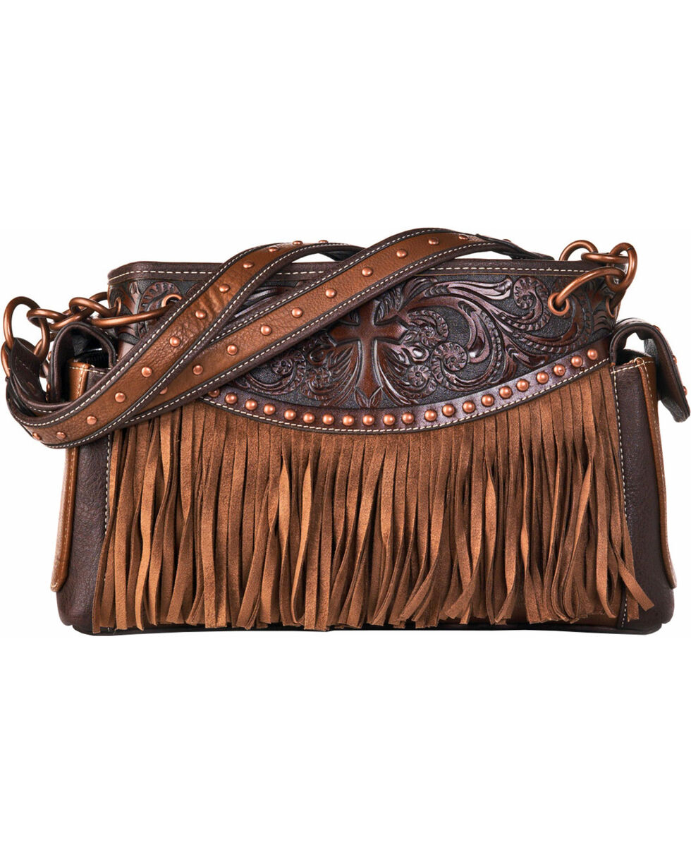 Blazin Roxx Women's Emboss Cross and Fringe Western Purse , Brown, hi-res