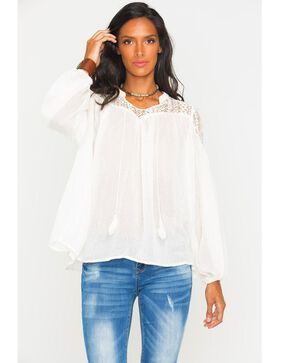 Freeway Apparel Women's Lace Yoke Top , White, hi-res