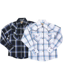 Ely Cattleman Boys' Assorted Textured Plaid Long Sleeve Western Shirt, , hi-res