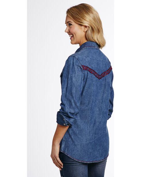 Cowgirl Up Women's Denim Vintage Wash Woven Shirt , Indigo, hi-res