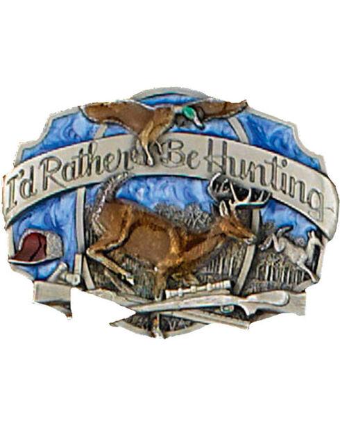 """Western Express Men's """"I'd Rather Be Hunting"""" Belt Buckle , Blue, hi-res"""