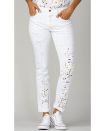 MM Vintage Women's White Paint Splatter Embroidered Boyfriend Jeans, , hi-res