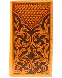 Nocona Floral Tooled w/ Basketweave Overlay Rodeo Wallet, , hi-res