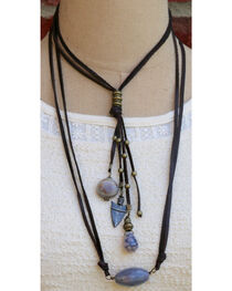 InspireDesigns Women's Reversible Stone and Leather Tassel Necklace , , hi-res