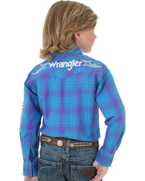 Wrangler Boys' Blue Logo Long Sleeve Plaid Shirt , Blue, hi-res
