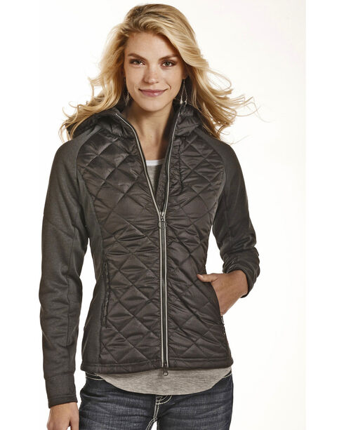 Rock & Roll Cowgirl Women's Printed Puffer & Melange Knit Jacket, Charcoal, hi-res