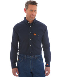 Wrangler Riggs Men's FR Flame Resistant Solid Twill Work Shirt - Tall, Navy, hi-res