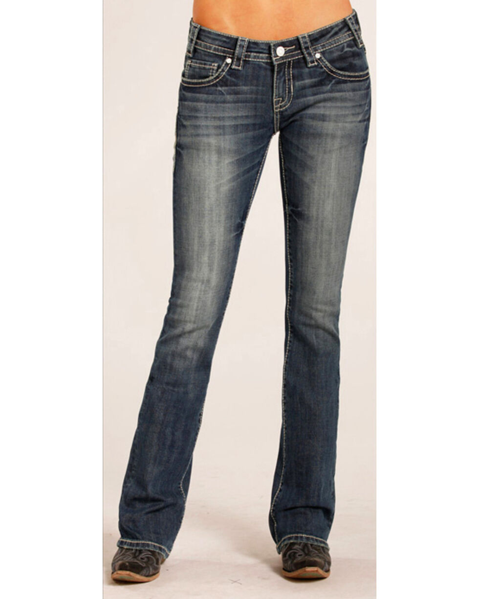 Rock & Roll Cowgirl Women's Rival Low Rise Jeans - Boot Cut , Indigo, hi-res