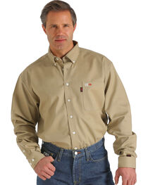 Cinch Men's WRX Flame-Resistant Solid Khaki Shirt - Big , , hi-res