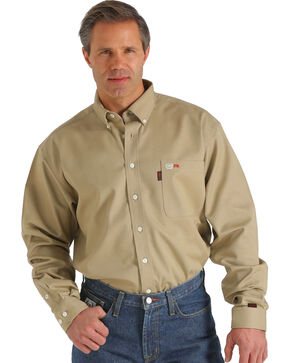 Cinch Men's WRX Flame-Resistant Solid Khaki Shirt - Big , Beige/khaki, hi-res