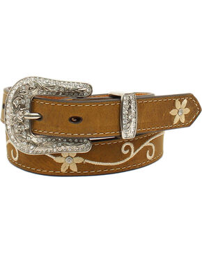 Nocona Girls' Embroidered Floral Rhinestone Belt, Medium Brown, hi-res