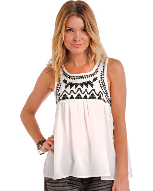 Panhandle Women's Embroidered Baby Doll Tank, White, hi-res