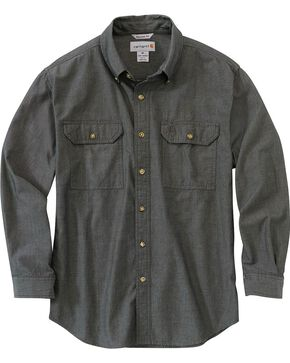 Carhartt Men's Long Sleeve Chambray Shirt, Black, hi-res