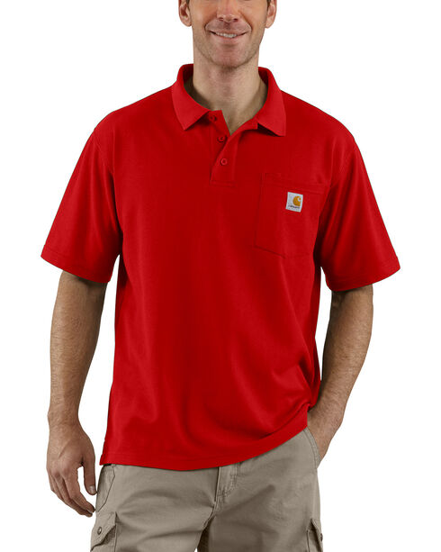 Carhartt Contractor's Work Pocket Polo Shirt, Red, hi-res