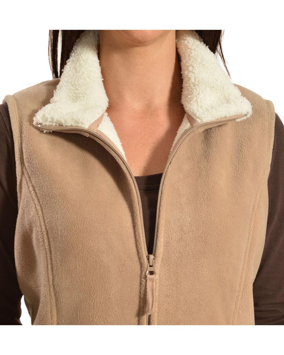 Jane Ashley Sherpa Fleece Vest, Khaki, hi-res