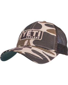 YETI Men's Embroidered Logo and Camo Trucker Ball Cap, Camouflage, hi-res