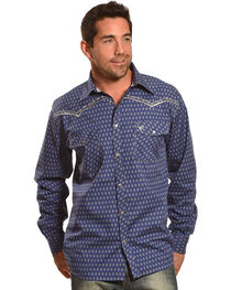 Cowboy Hardware Men's Navy Dashed Diamond Print Shirt , , hi-res