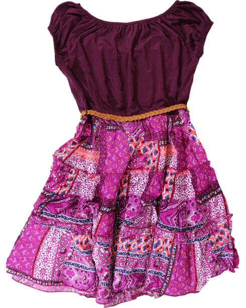 Lilt Girls' Peasant Dress, Black Cherry, hi-res