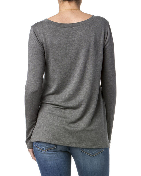 Miss Me Women's Simple Long Sleeve Knit Top, Grey, hi-res