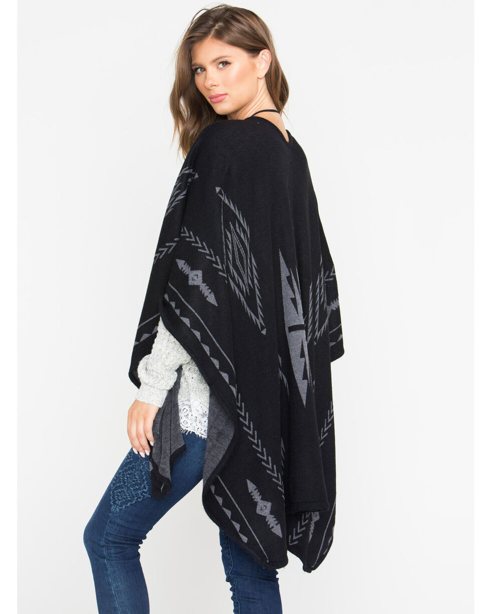 Shyanne Women's Aztec Black Blanket Scarf, Black, hi-res