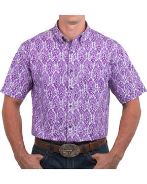Noble Outfitters' Men's Feather Patterned Short Sleeve Shirt, Purple, hi-res