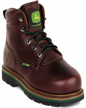 "John Deere® Men's 6"" Steel Toe Lace-Up Work Boots, Brown, hi-res"