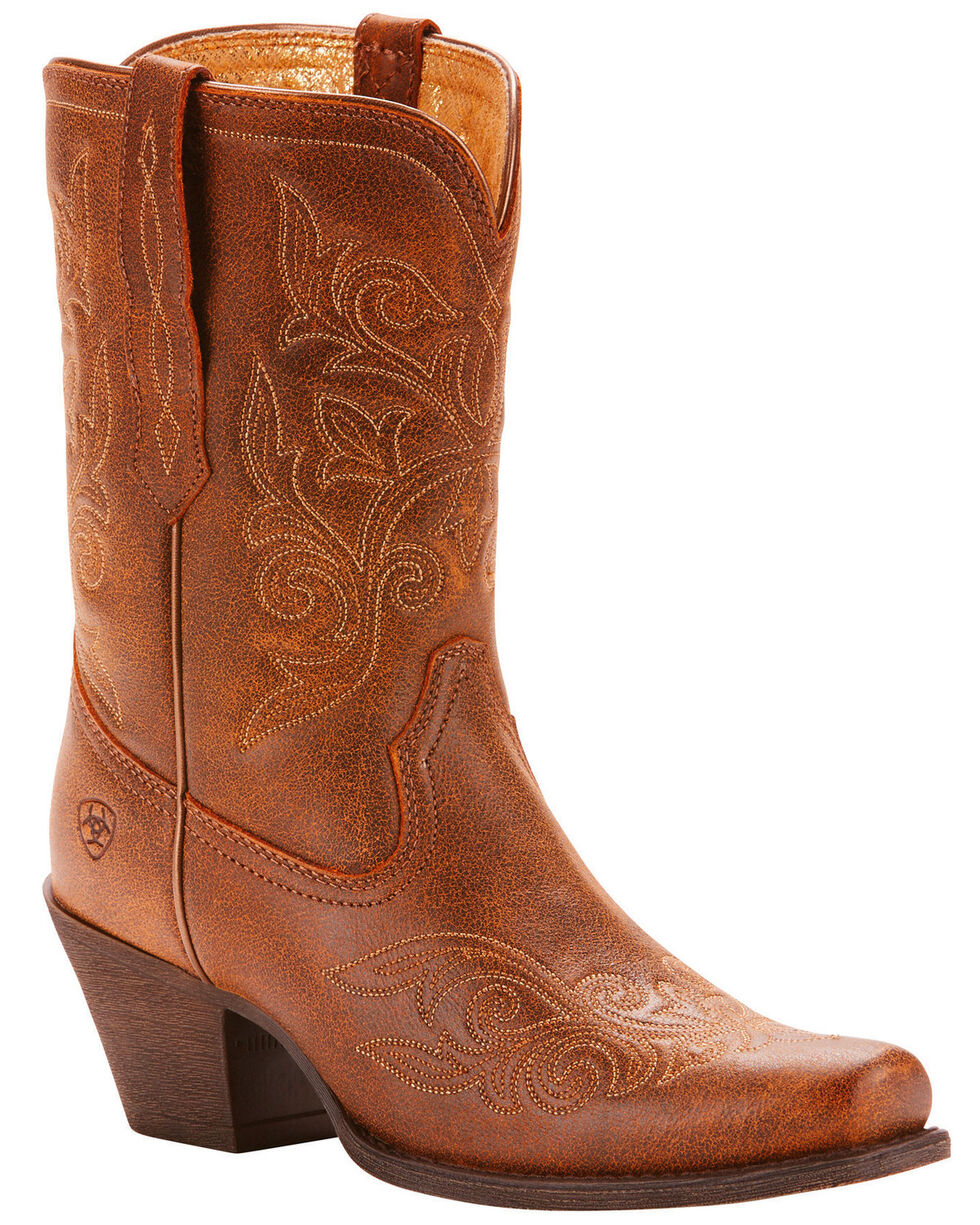 Ariat Women's Round Up Rylan Vintage Bomber Western Boots - Square Toe, Brown, hi-res