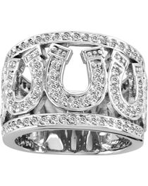 Kelly Herd Sterling Silver Rhinestone Horseshoe Ring, , hi-res