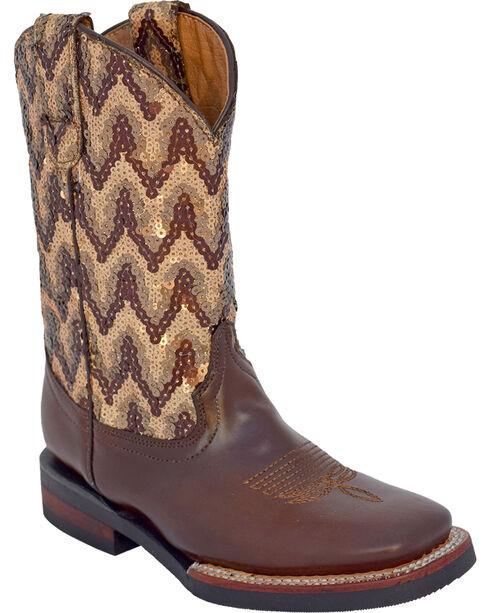 Ferrini Girls' Cowhide Sequin Western Boots - Square Toe, , hi-res