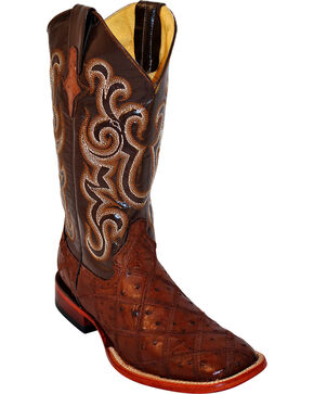 Ferrini Men's Ostrich Patch Exotic Western Boots, Kango, hi-res