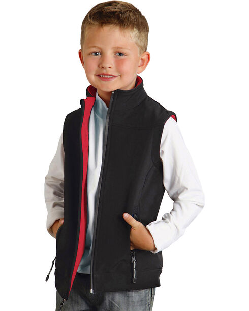 Roper Boy's Rangegear Hi Tech Fleece Vest, Black, hi-res