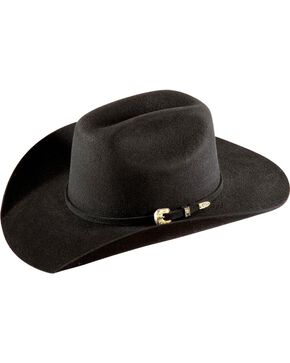 Bullhide Kids' Kingman Jr. Cattleman Wool Felt Cowboy Hat, Black, hi-res