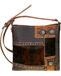 Trinity Ranch Women's Coffee Hair-On Concealed Carry Crossbody Bag , , hi-res