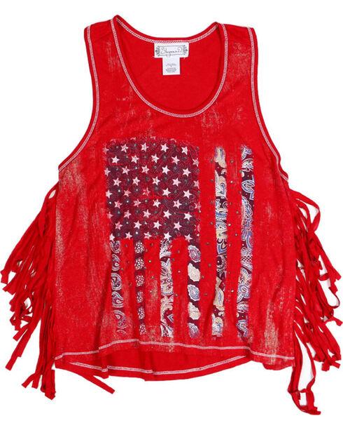 Shyanne Toddler Girls' Americana Fringe Tank , Red, hi-res