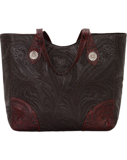 American West Women's Annie's Secret Compartment Tote, Chocolate, hi-res