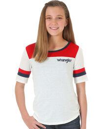 Wrangler Girls' Quarter Sleeve Block T-Shirt , , hi-res