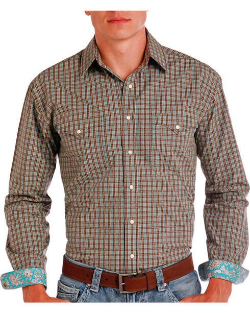 Rough Stock by Panhandle Men's Check Patterned Contrast Trim Long Sleeve Shirt, Brown, hi-res