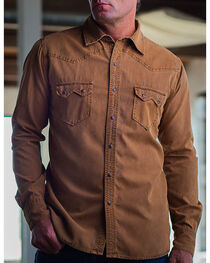 Ryan Michael Men's Gold Sawtooth Silk Canvas Western Shirt, , hi-res