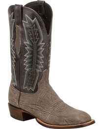 Lucchese Men's Hunter Charcoal/Black Sueded Sheep Horseman Western Boots - Square Toe, , hi-res