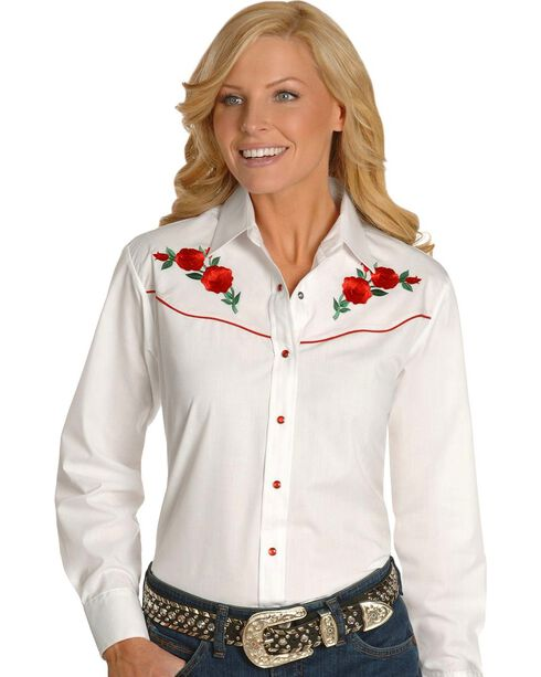 Ely Walker Women's Embroidered Rose Long Sleeve Western Shirt, White, hi-res
