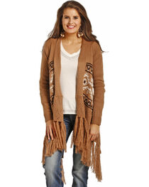 Powder River Outfitters Women's Tan Fringed Aztec Sweater , , hi-res