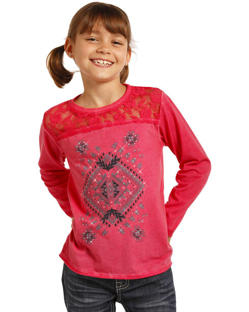 Rock & Roll Cowgirl Girls' Aztec Lace Yoke Tee, Pink, hi-res