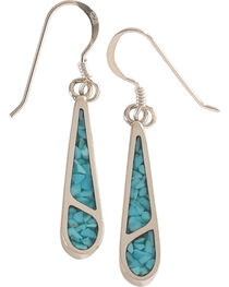 Silver Legends Women's 2 Channel Turquoise Dangle Earrings , , hi-res