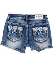 Grace in LA Girls' Aztec Embroidered Cutoff Shorts, , hi-res