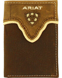 Ariat Men's Tri-fold Leather Overlay Wallet , , hi-res
