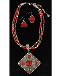 Blazin Roxx Women's Multi-Strand Diamond Pendant Necklace & Earrings Set, , hi-res