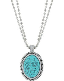 Montana Silversmiths Women's Carved Legacy Turquoise Necklace , , hi-res